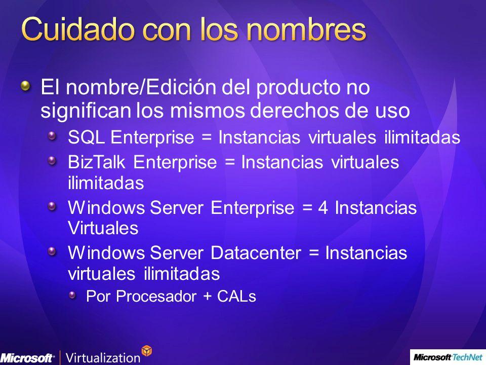 El nombre/Edición del producto no significan los mismos derechos de uso SQL Enterprise = Instancias virtuales ilimitadas BizTalk Enterprise = Instanci
