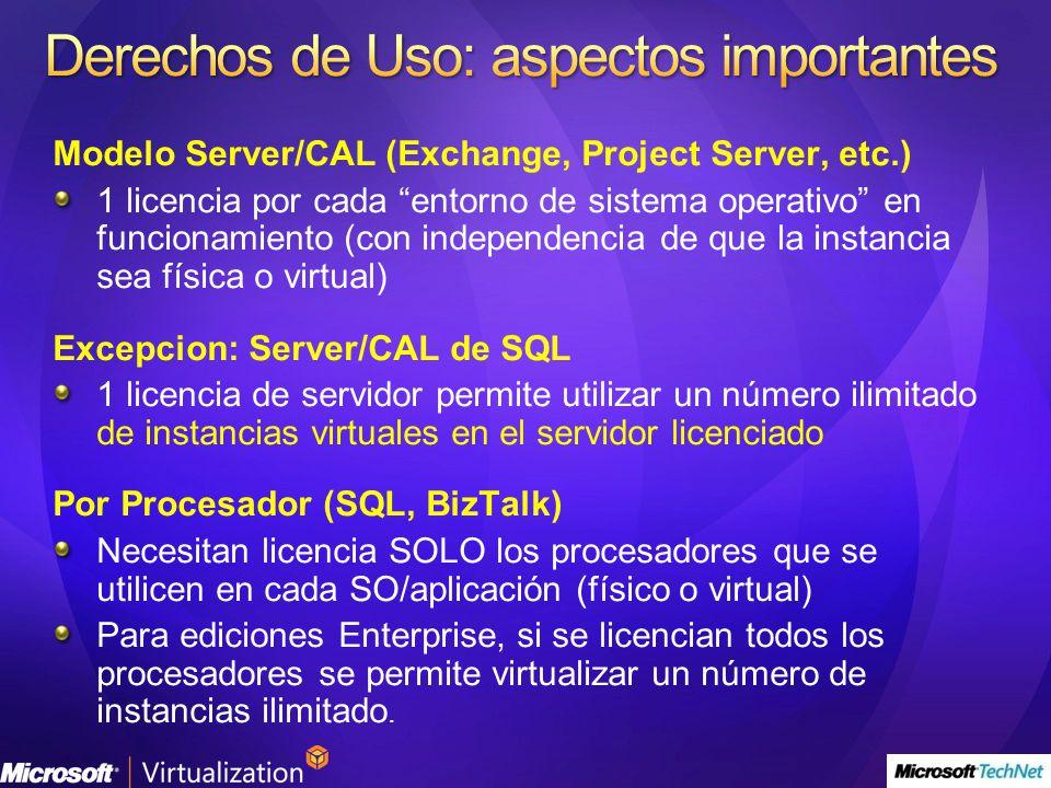 Modelo Server/CAL (Exchange, Project Server, etc.) 1 licencia por cada entorno de sistema operativo en funcionamiento (con independencia de que la ins