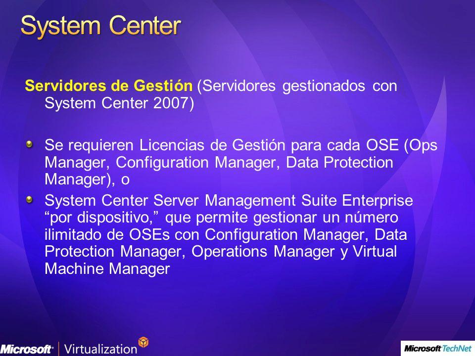Servidores de Gestión (Servidores gestionados con System Center 2007) Se requieren Licencias de Gestión para cada OSE (Ops Manager, Configuration Mana