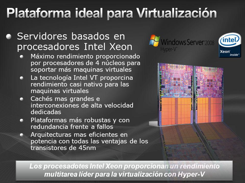 Servidores basados en procesadores Intel Xeon Máximo rendimiento proporcionado por procesadores de 4 núcleos para soportar más maquinas virtuales La t