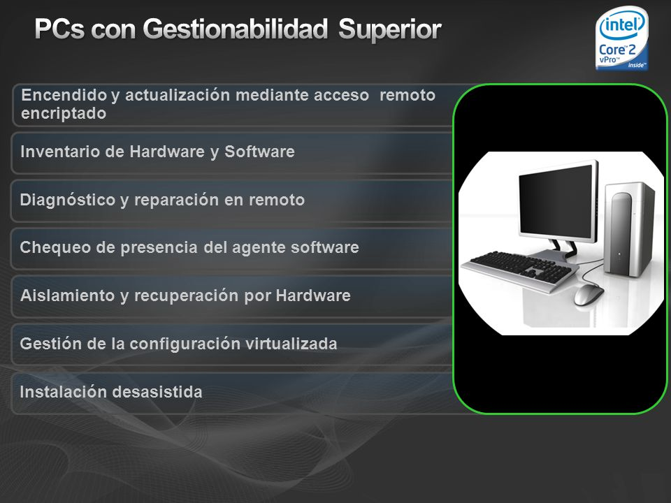 Instalación desasistida Gestión de la configuración virtualizada Encendido y actualización mediante acceso remoto encriptado Inventario de Hardware y