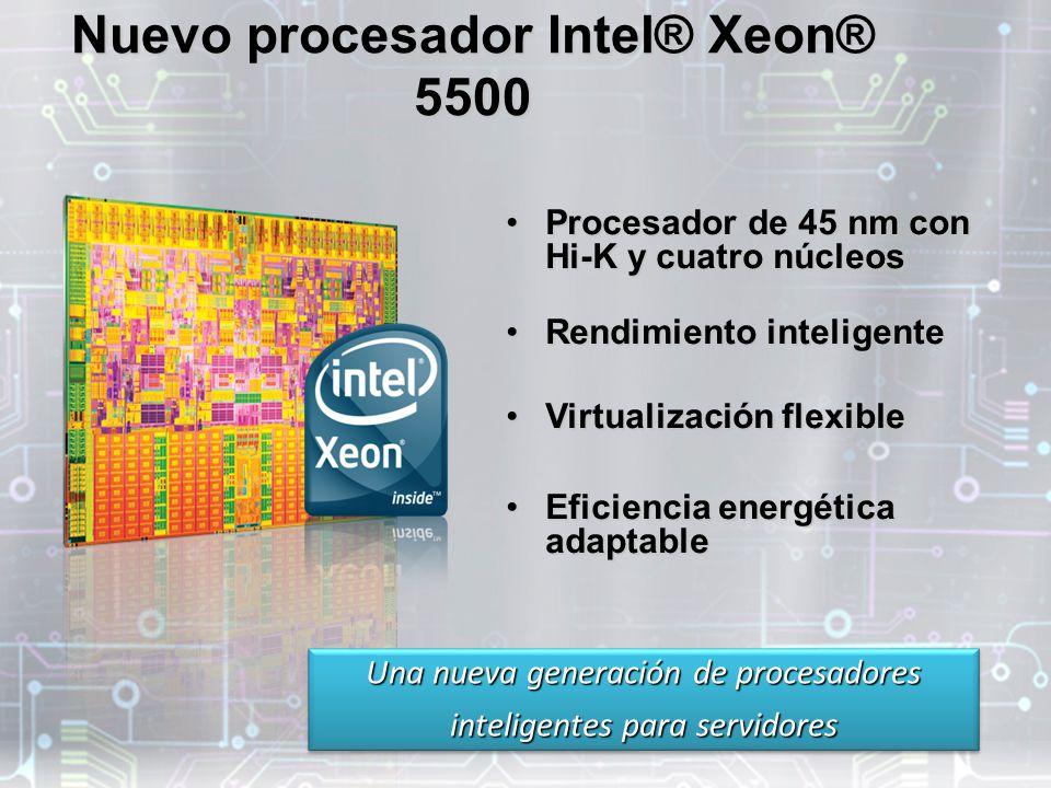 Nuevo procesador Intel® Xeon® 5500 Procesador de 45 nm con Hi-K y cuatro núcleosProcesador de 45 nm con Hi-K y cuatro núcleos Rendimiento inteligenteRendimiento inteligente Virtualización flexibleVirtualización flexible Eficiencia energética adaptableEficiencia energética adaptable Una nueva generación de procesadores inteligentes para servidores Una nueva generación de procesadores inteligentes para servidores