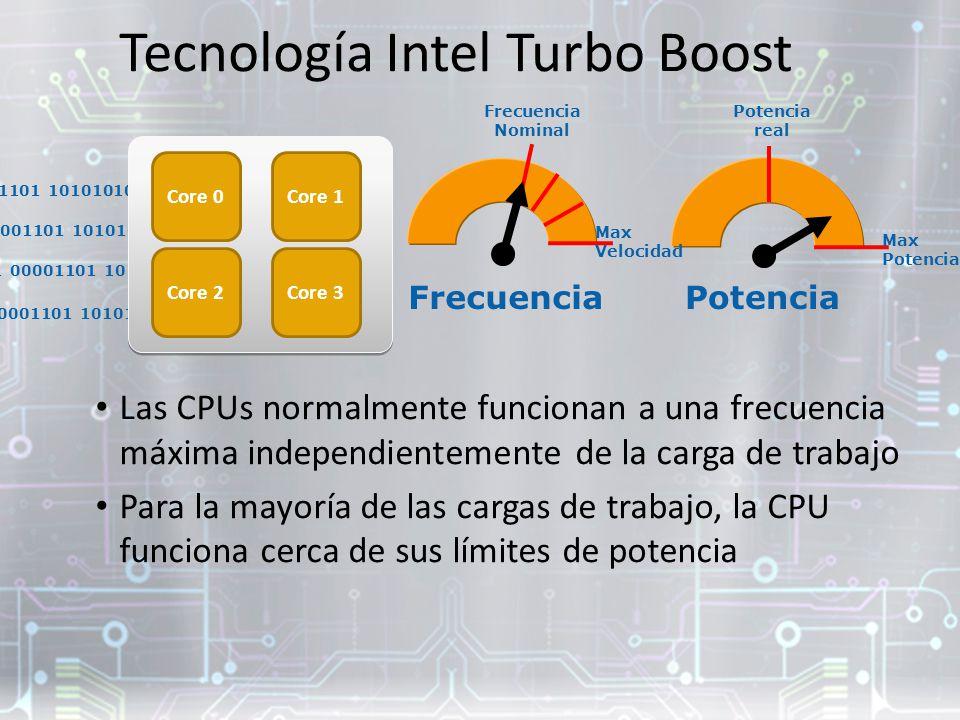 10001001 101010101 10001010 01010101 00001101 10101010 Tecnología Intel Turbo Boost Las CPUs normalmente funcionan a una frecuencia máxima independientemente de la carga de trabajo Para la mayoría de las cargas de trabajo, la CPU funciona cerca de sus límites de potencia 10001001 101010101 10001010 01010101 00001101 10101010 Core 0Core 1 Core 3Core 2 FrecuenciaPotencia Max Potencia Max Velocidad Potencia real Frecuencia Nominal