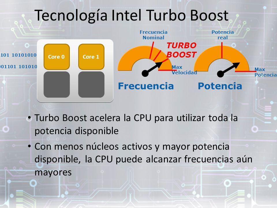 10001001 101010101 10001010 01010101 00001101 10101010 Turbo Boost acelera la CPU para utilizar toda la potencia disponible Con menos núcleos activos y mayor potencia disponible, la CPU puede alcanzar frecuencias aún mayores 10001001 101010101 10001010 01010101 00001101 10101010 Core 0Core 1 Core 3 FrecuenciaPotencia Max Potencia Max Velocidad TURBO BOOST Potencia real Tecnología Intel Turbo Boost Frecuencia Nominal