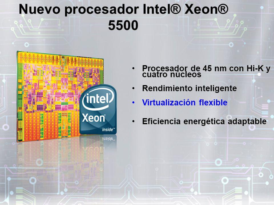 Nuevo procesador Intel® Xeon® 5500 Procesador de 45 nm con Hi-K y cuatro núcleosProcesador de 45 nm con Hi-K y cuatro núcleos Rendimiento inteligenteRendimiento inteligente Virtualización flexibleVirtualización flexible Eficiencia energética adaptableEficiencia energética adaptable