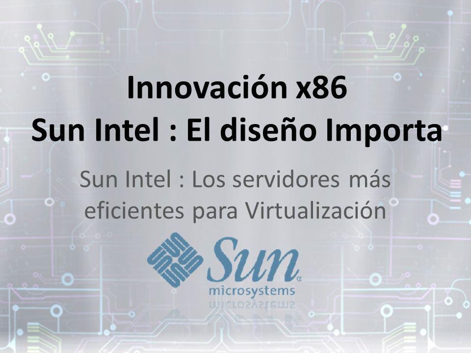 Innovación x86 Sun Intel : El diseño Importa Sun Intel : Los servidores más eficientes para Virtualización