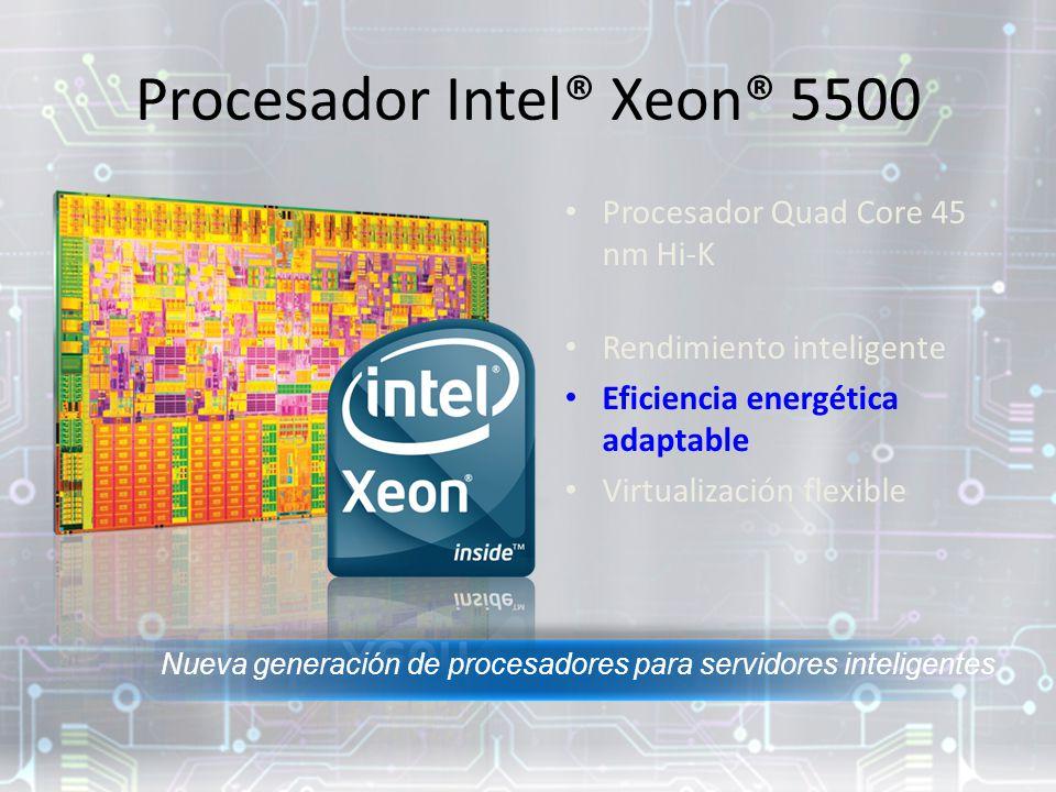Procesador Intel® Xeon® 5500 Procesador Quad Core 45 nm Hi-K Rendimiento inteligente Eficiencia energética adaptable Virtualización flexible Nueva generación de procesadores para servidores inteligentes