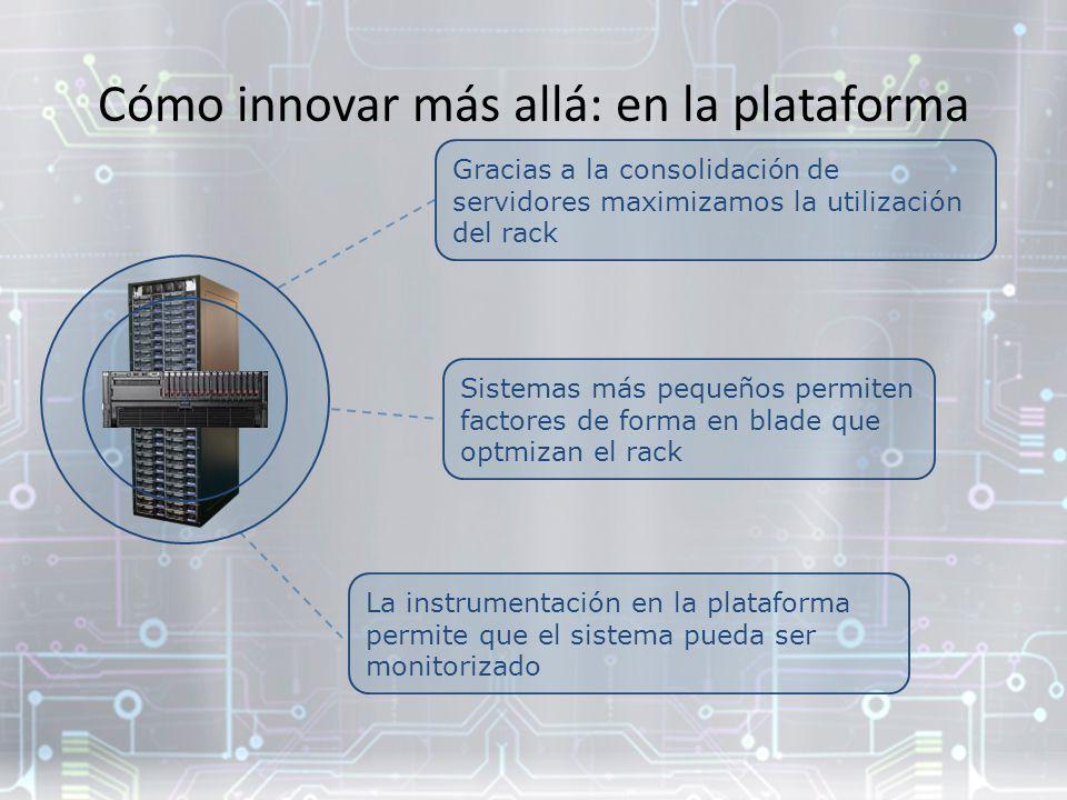 Gracias a la consolidación de servidores maximizamos la utilización del rack Cómo innovar más allá: en la plataforma Sistemas más pequeños permiten factores de forma en blade que optmizan el rack La instrumentación en la plataforma permite que el sistema pueda ser monitorizado