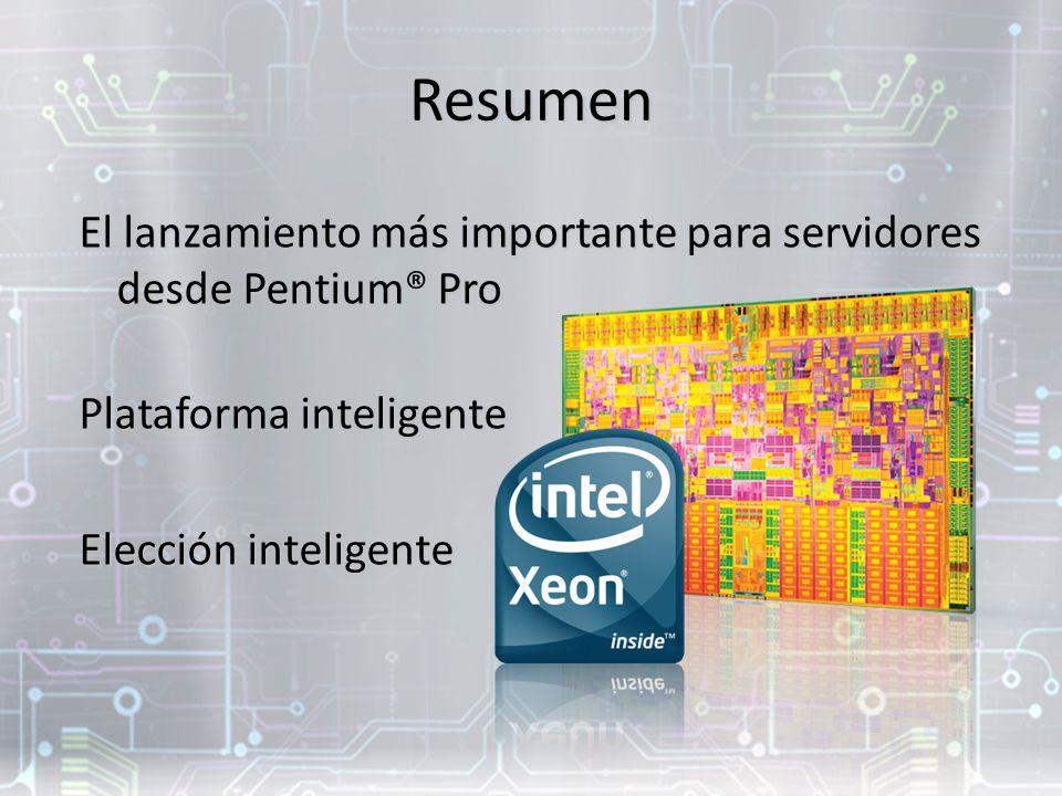 Resumen El lanzamiento más importante para servidores desde Pentium® Pro Plataforma inteligente Elección inteligente