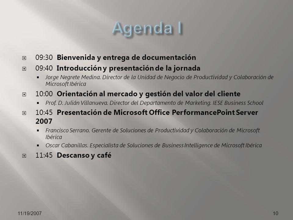 09:30 Bienvenida y entrega de documentación 09:40 Introducción y presentación de la jornada Jorge Negrete Medina. Director de la Unidad de Negocio de