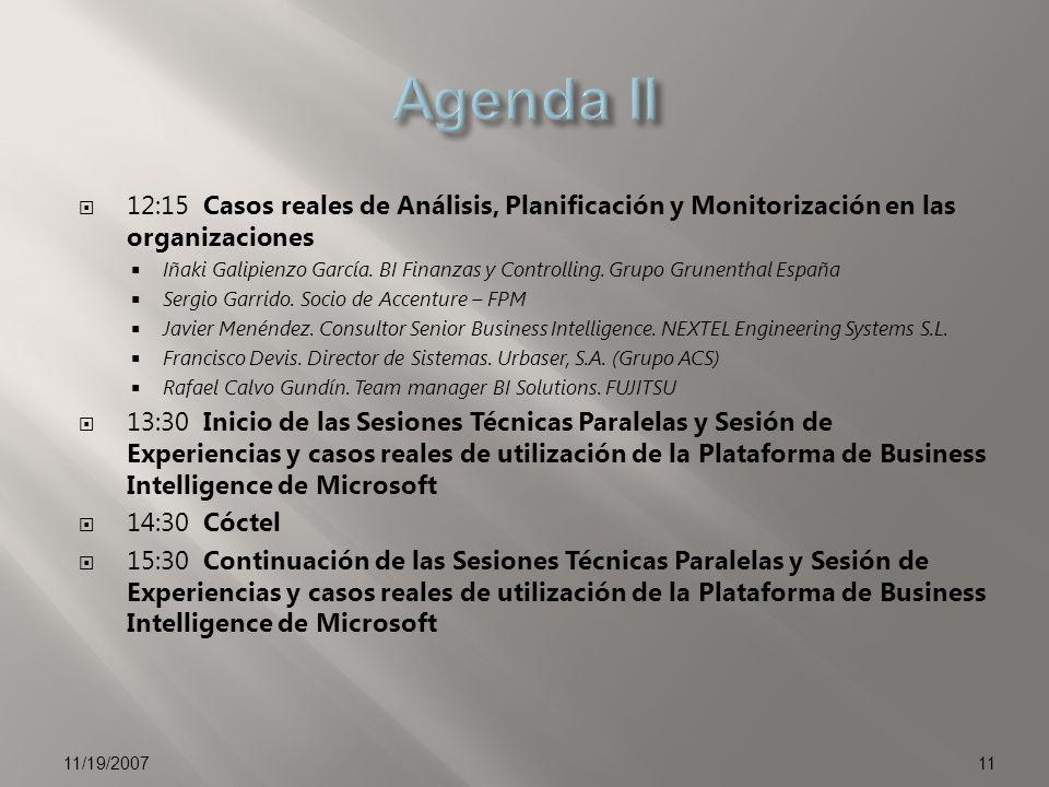 12:15 Casos reales de Análisis, Planificación y Monitorización en las organizaciones Iñaki Galipienzo García. BI Finanzas y Controlling. Grupo Grunent