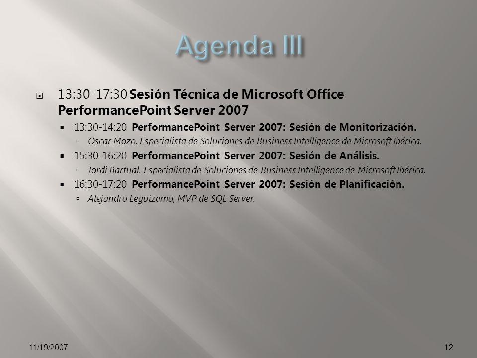 13:30-17:30 Sesión Técnica de Microsoft Office PerformancePoint Server 2007 13:30-14:20 PerformancePoint Server 2007: Sesión de Monitorización. Oscar