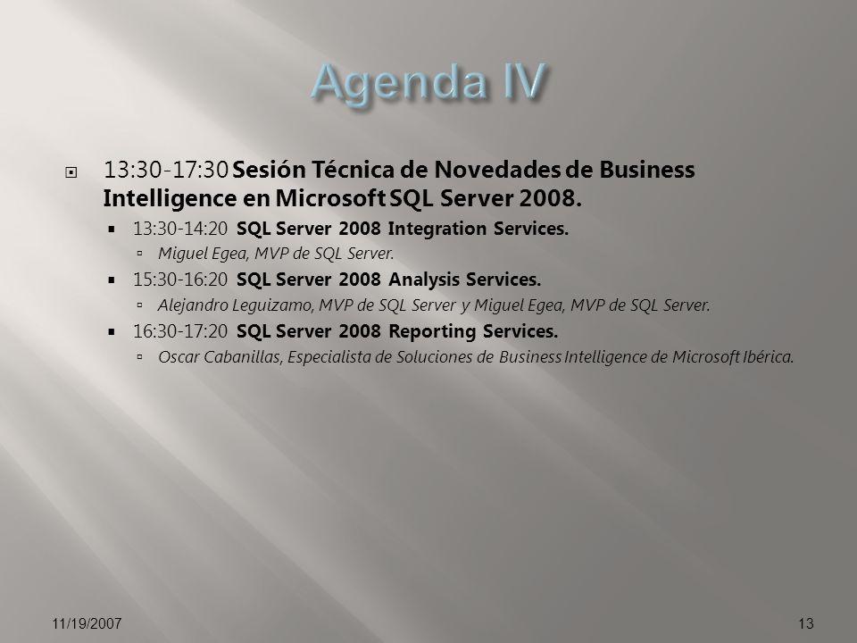 13:30-17:30 Sesión Técnica de Novedades de Business Intelligence en Microsoft SQL Server 2008. 13:30-14:20 SQL Server 2008 Integration Services. Migue