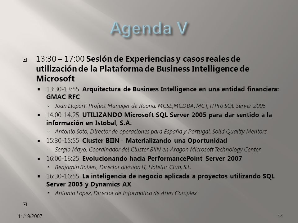 13:30 – 17:30 Hands On Labs de Microsoft Office PerformancePoint Server 2007.