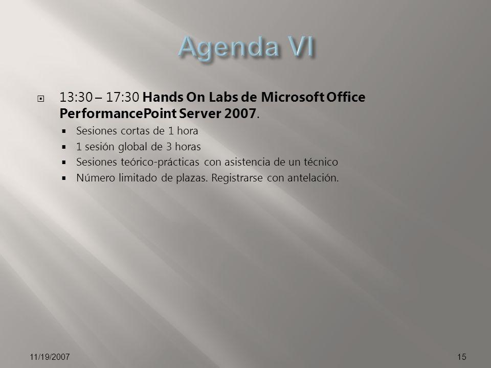 13:30 – 17:30 Hands On Labs de Microsoft Office PerformancePoint Server 2007. Sesiones cortas de 1 hora 1 sesión global de 3 horas Sesiones teórico-pr