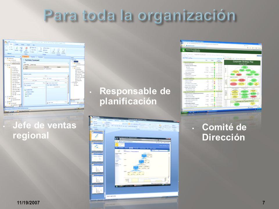 11/19/20077 Jefe de ventas regional Comité de Dirección Responsable de planificación