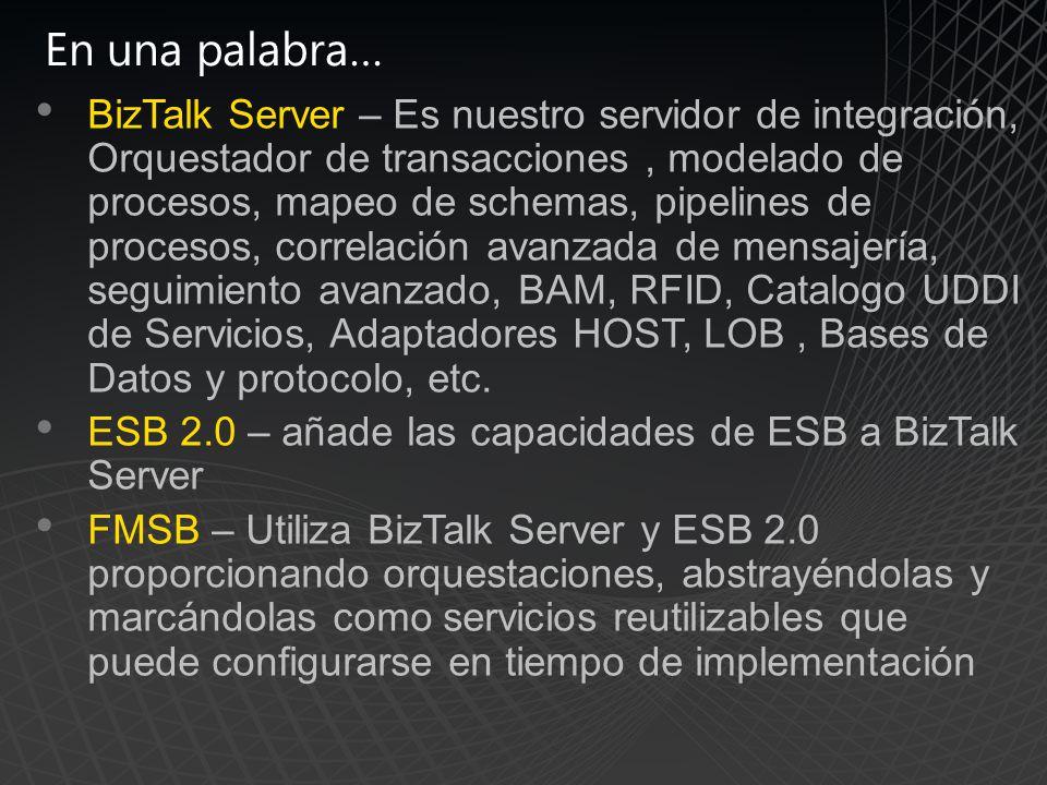 En una palabra… BizTalk Server – Es nuestro servidor de integración, Orquestador de transacciones, modelado de procesos, mapeo de schemas, pipelines de procesos, correlación avanzada de mensajería, seguimiento avanzado, BAM, RFID, Catalogo UDDI de Servicios, Adaptadores HOST, LOB, Bases de Datos y protocolo, etc.