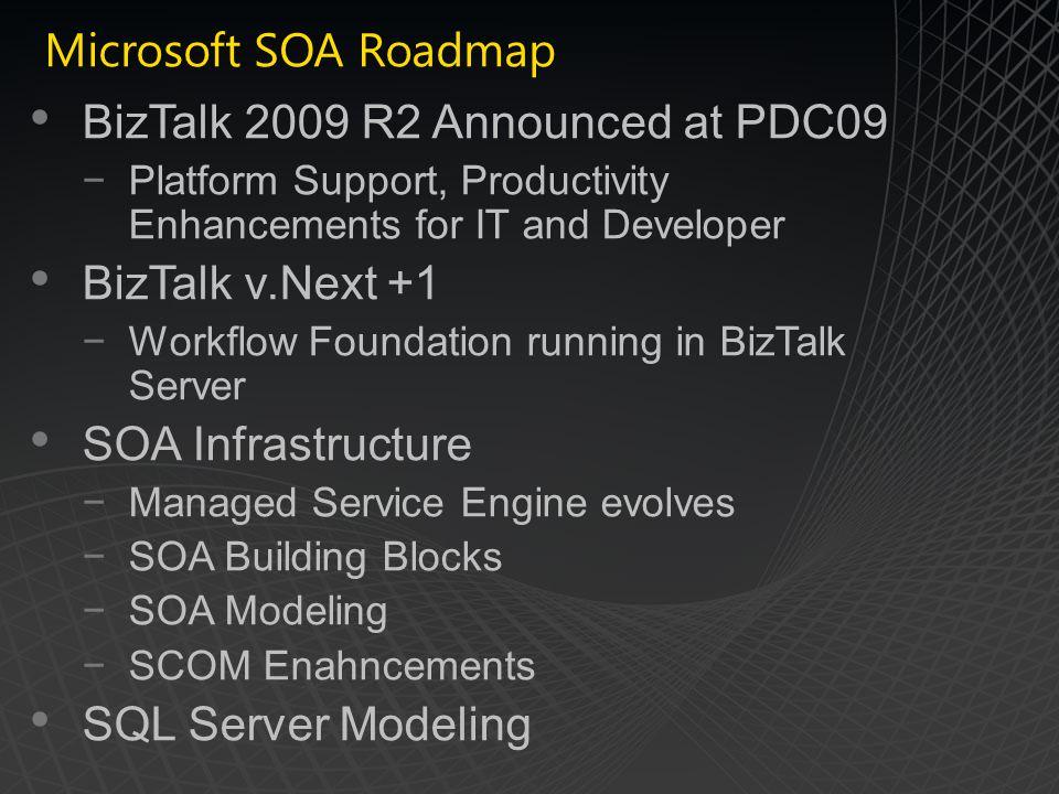 Microsoft SOA Roadmap BizTalk 2009 R2 Announced at PDC09 Platform Support, Productivity Enhancements for IT and Developer BizTalk v.Next +1 Workflow Foundation running in BizTalk Server SOA Infrastructure Managed Service Engine evolves SOA Building Blocks SOA Modeling SCOM Enahncements SQL Server Modeling