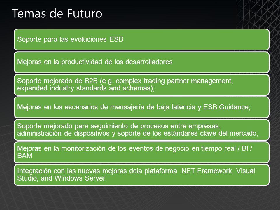 Temas de Futuro Soporte para las evoluciones ESBMejoras en la productividad de los desarrolladores Soporte mejorado de B2B (e.g.