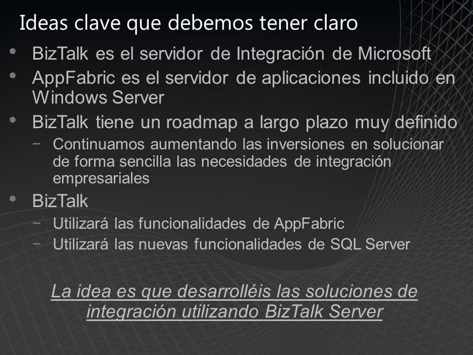 Ideas clave que debemos tener claro BizTalk es el servidor de Integración de Microsoft AppFabric es el servidor de aplicaciones incluido en Windows Server BizTalk tiene un roadmap a largo plazo muy definido Continuamos aumentando las inversiones en solucionar de forma sencilla las necesidades de integración empresariales BizTalk Utilizará las funcionalidades de AppFabric Utilizará las nuevas funcionalidades de SQL Server La idea es que desarrolléis las soluciones de integración utilizando BizTalk Server