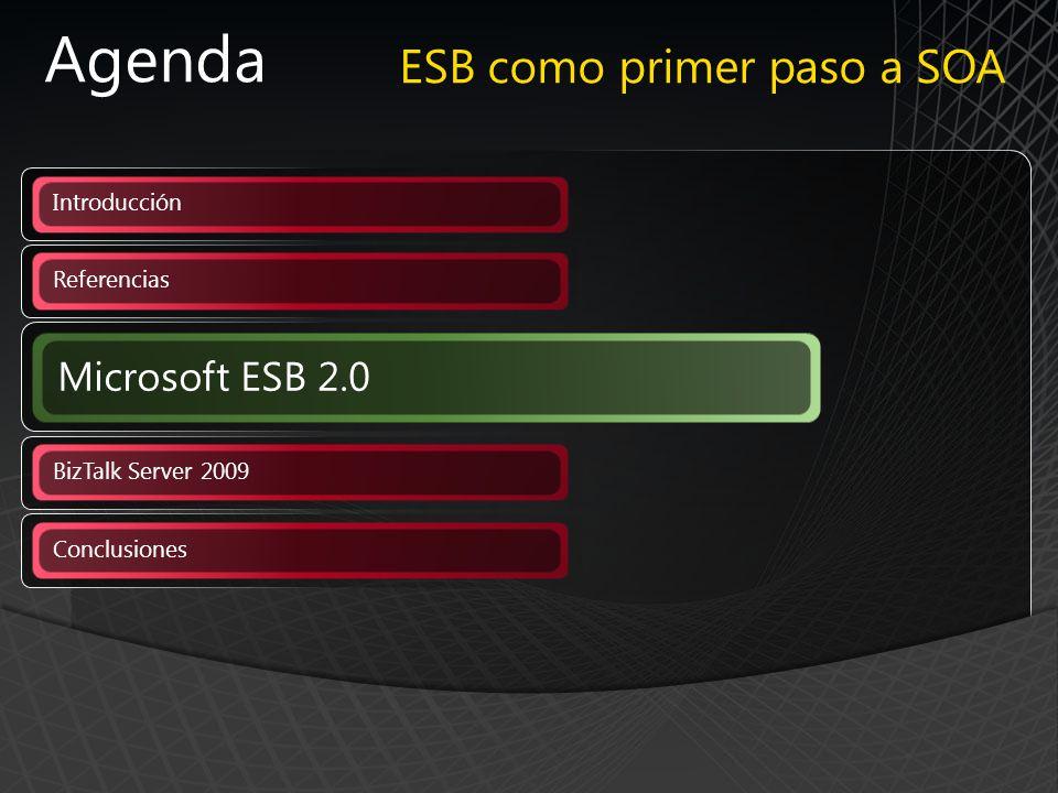 Agenda Referencias BizTalk Server 2009 Conclusiones Introducción Microsoft ESB 2.0 ESB como primer paso a SOA