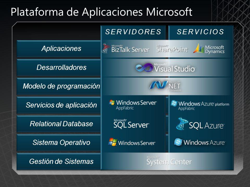 SERVICIOSSERVIDORES Desarrolladores Modelo de programación Servicios de aplicación Relational Database Sistema Operativo Gestión de Sistemas Aplicaciones Plataforma de Aplicaciones Microsoft