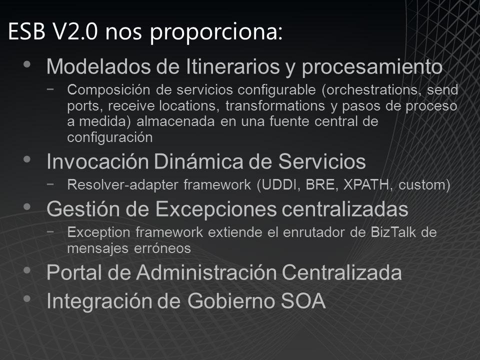 ESB V2.0 nos proporciona: Modelados de Itinerarios y procesamiento Composición de servicios configurable (orchestrations, send ports, receive locations, transformations y pasos de proceso a medida) almacenada en una fuente central de configuración Invocación Dinámica de Servicios Resolver-adapter framework (UDDI, BRE, XPATH, custom) Gestión de Excepciones centralizadas Exception framework extiende el enrutador de BizTalk de mensajes erróneos Portal de Administración Centralizada Integración de Gobierno SOA