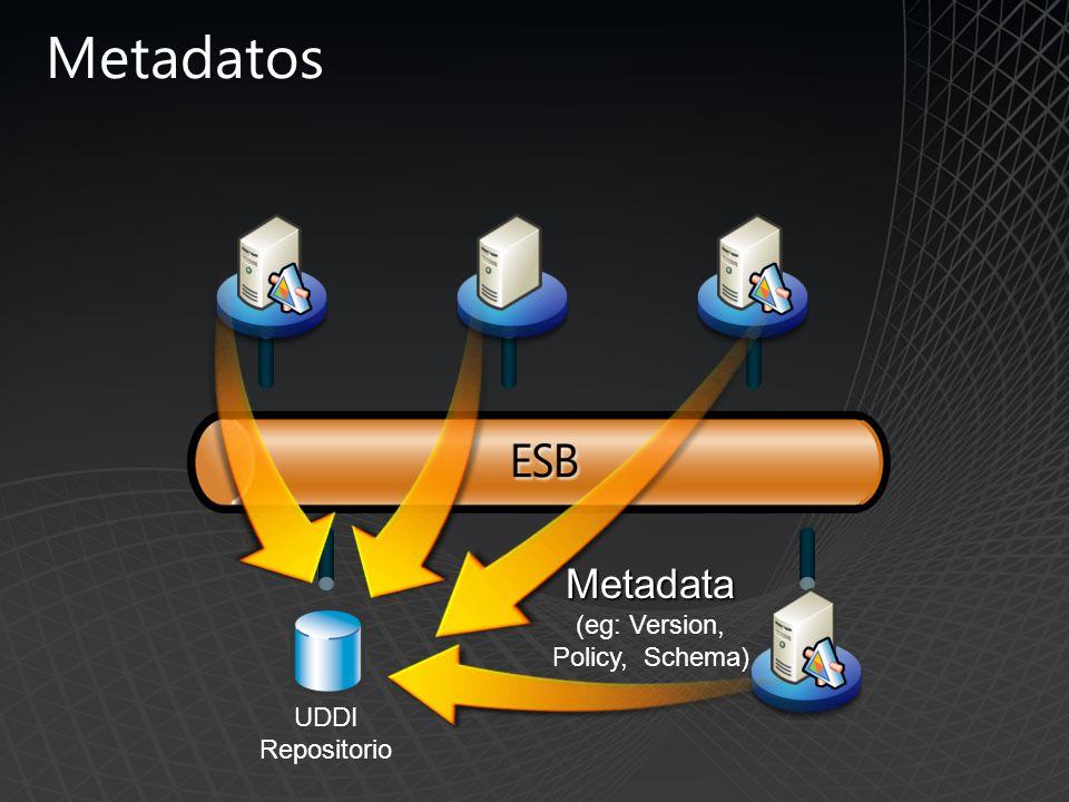 Metadatos UDDI Repositorio Metadata Metadata (eg: Version, Policy, Schema)
