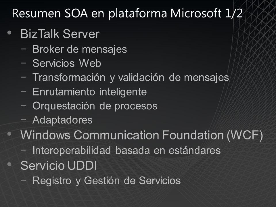 Resumen SOA en plataforma Microsoft 1/2 BizTalk Server Broker de mensajes Servicios Web Transformación y validación de mensajes Enrutamiento inteligente Orquestación de procesos Adaptadores Windows Communication Foundation (WCF) Interoperabilidad basada en estándares Servicio UDDI Registro y Gestión de Servicios