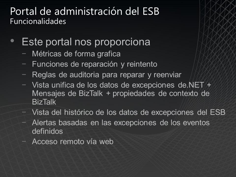 Portal de administración del ESB Funcionalidades Este portal nos proporciona Métricas de forma grafica Funciones de reparación y reintento Reglas de auditoria para reparar y reenviar Vista unifica de los datos de excepciones de.NET + Mensajes de BizTalk + propiedades de contexto de BizTalk Vista del histórico de los datos de excepciones del ESB Alertas basadas en las excepciones de los eventos definidos Acceso remoto vía web