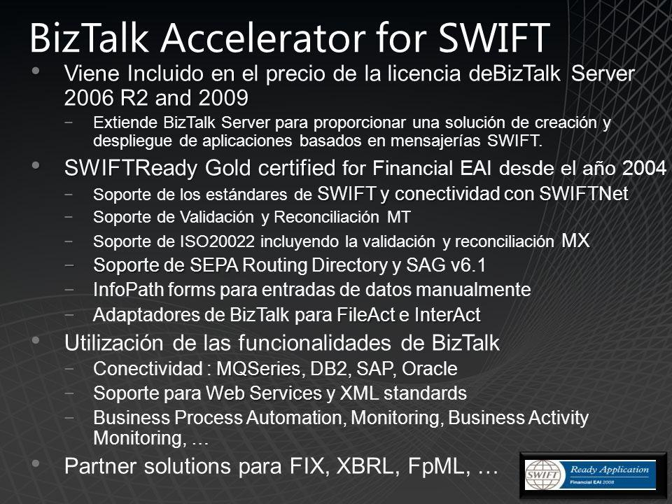 BizTalk Accelerator for SWIFT Viene Incluido en BizTalk Server 2006 R2 and 2009 Viene Incluido en el precio de la licencia deBizTalk Server 2006 R2 and 2009 Extiende BizTalk Server para proporcionar una solución de creación y despliegue de aplicaciones basados en mensajerías SWIFT.