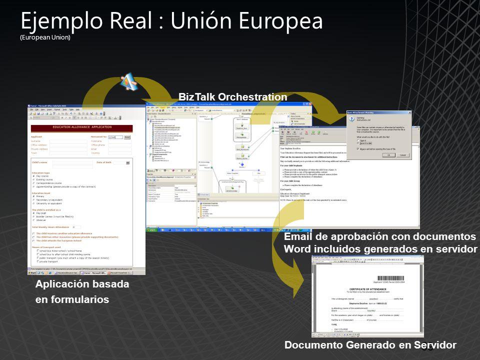 Ejemplo Real : Unión Europea (European Union) 69 Aplicación basada en formularios Email de aprobación con documentos Word incluidos generados en servidor Documento Generado en Servidor BizTalk Orchestration