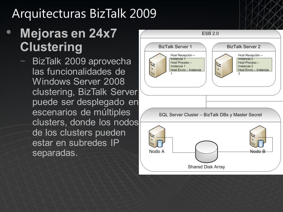 Arquitecturas BizTalk 2009 Mejoras en 24x7 Clustering BizTalk 2009 aprovecha las funcionalidades de Windows Server 2008 clustering, BizTalk Server puede ser desplegado en escenarios de múltiples clusters, donde los nodos de los clusters pueden estar en subredes IP separadas.