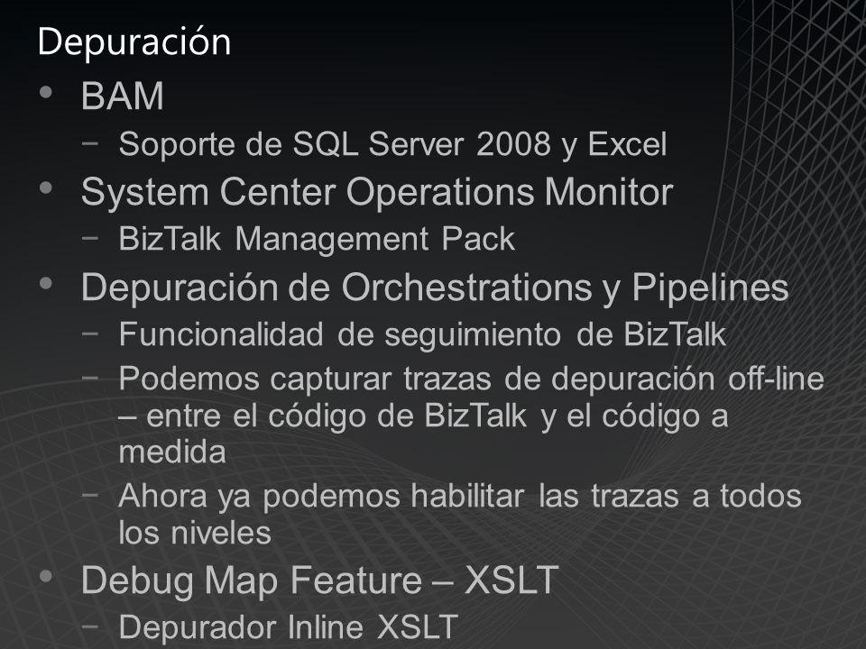 Depuración BAM Soporte de SQL Server 2008 y Excel System Center Operations Monitor BizTalk Management Pack Depuración de Orchestrations y Pipelines Funcionalidad de seguimiento de BizTalk Podemos capturar trazas de depuración off-line – entre el código de BizTalk y el código a medida Ahora ya podemos habilitar las trazas a todos los niveles Debug Map Feature – XSLT Depurador Inline XSLT
