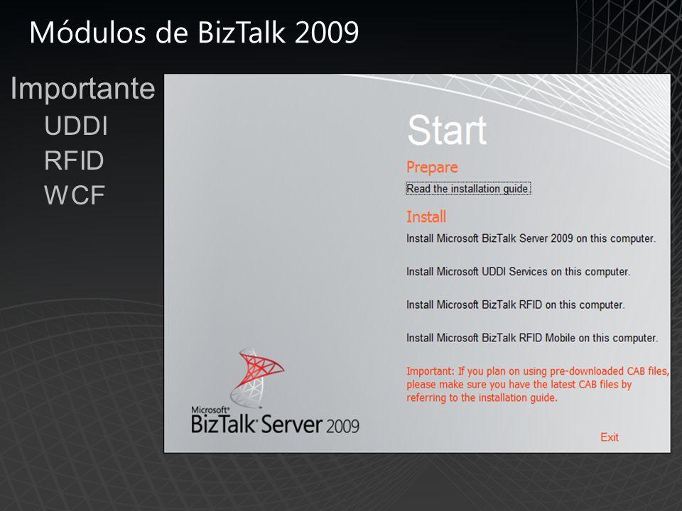 Módulos de BizTalk 2009 Importante UDDI RFID WCF