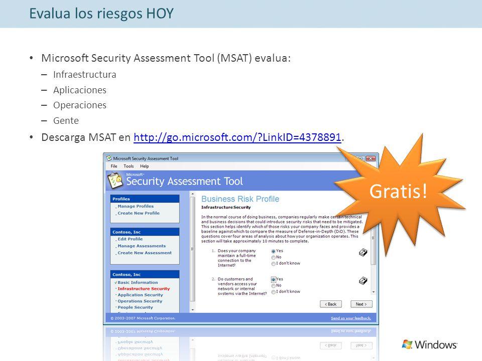 Evalua los riesgos HOY Microsoft Security Assessment Tool (MSAT) evalua: – Infraestructura – Aplicaciones – Operaciones – Gente Descarga MSAT en http://go.microsoft.com/ LinkID=4378891.http://go.microsoft.com/ LinkID=4378891 Gratis!