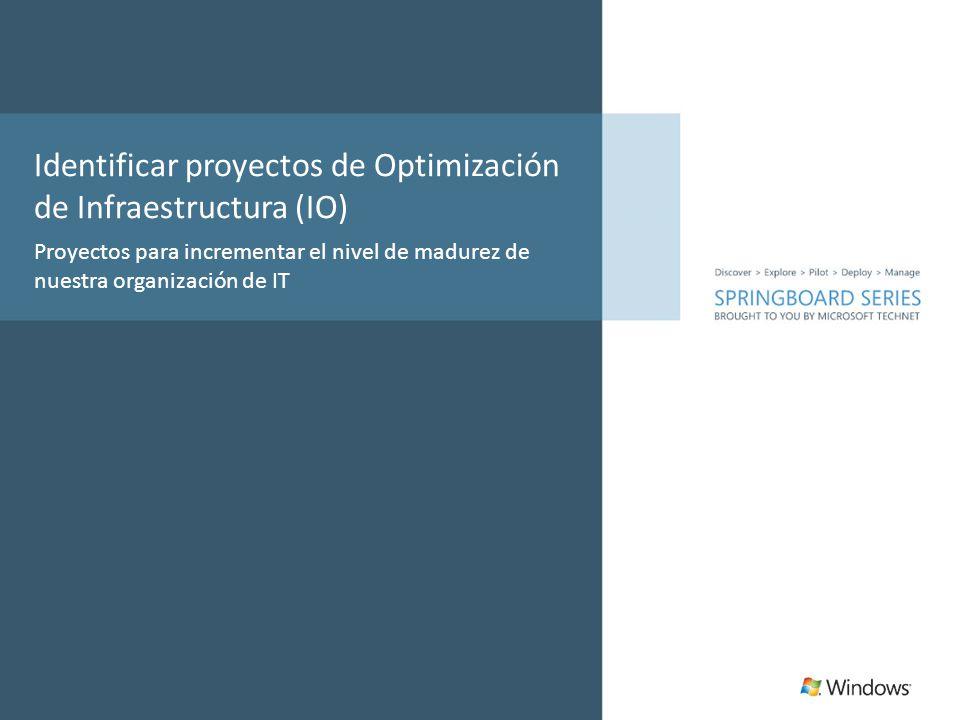 Identificar proyectos de Optimización de Infraestructura (IO) Proyectos para incrementar el nivel de madurez de nuestra organización de IT