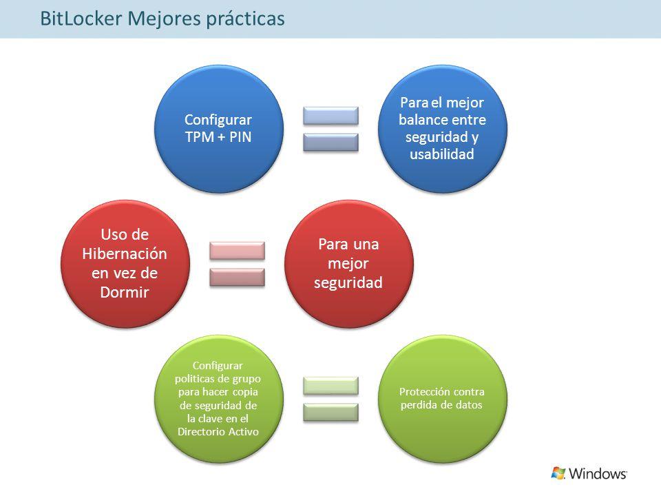 BitLocker Mejores prácticas Configurar TPM + PIN Para el mejor balance entre seguridad y usabilidad Uso de Hibernación en vez de Dormir Para una mejor seguridad Configurar politicas de grupo para hacer copia de seguridad de la clave en el Directorio Activo Protección contra perdida de datos