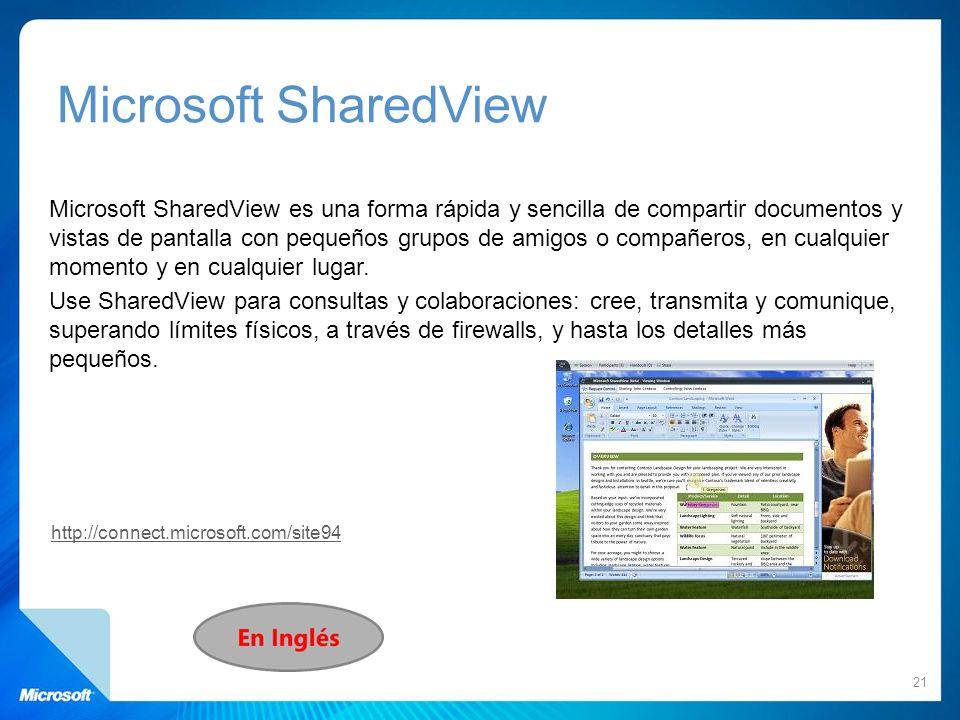 Microsoft SharedView Microsoft SharedView es una forma rápida y sencilla de compartir documentos y vistas de pantalla con pequeños grupos de amigos o