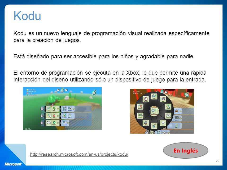 Kodu Kodu es un nuevo lenguaje de programación visual realizada específicamente para la creación de juegos. Está diseñado para ser accesible para los