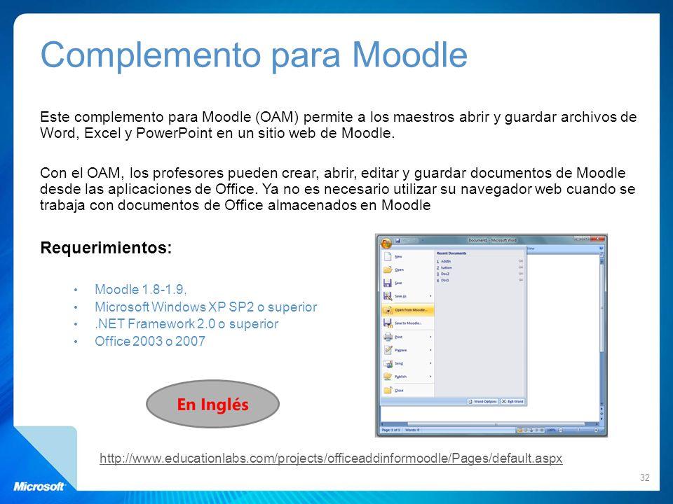 Complemento para Moodle Este complemento para Moodle (OAM) permite a los maestros abrir y guardar archivos de Word, Excel y PowerPoint en un sitio web