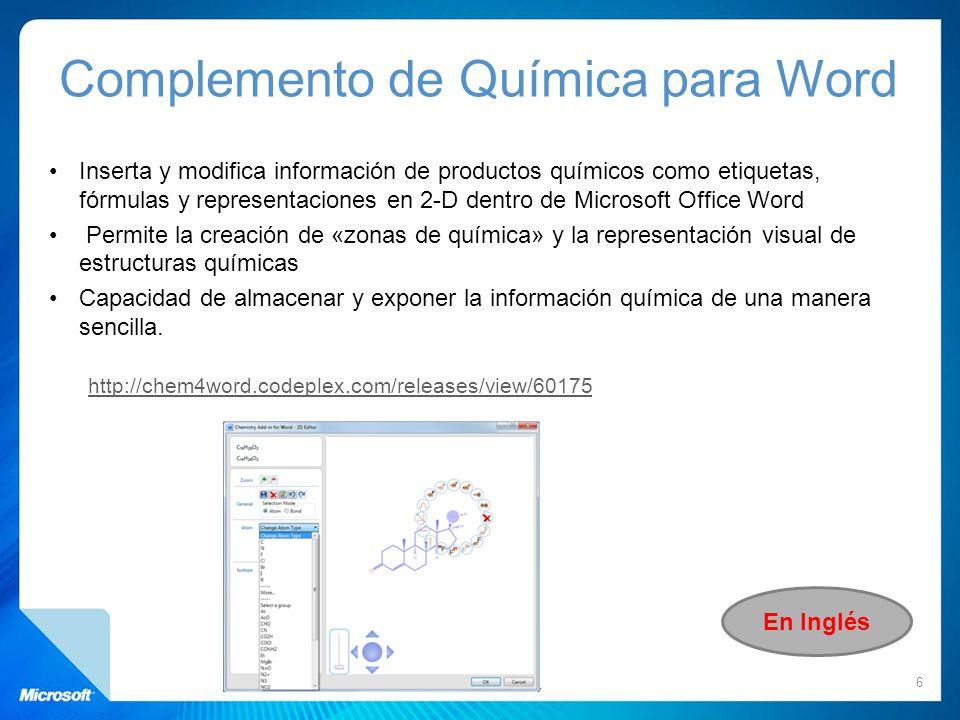 Inserta y modifica información de productos químicos como etiquetas, fórmulas y representaciones en 2-D dentro de Microsoft Office Word Permite la cre