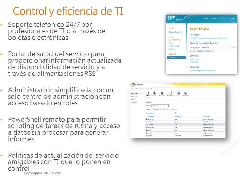 | Copyright© 2010 Microsoft Corporation Control y eficiencia de TI Soporte telefónico 24/7 por profesionales de TI o a través de boletas electrónicas