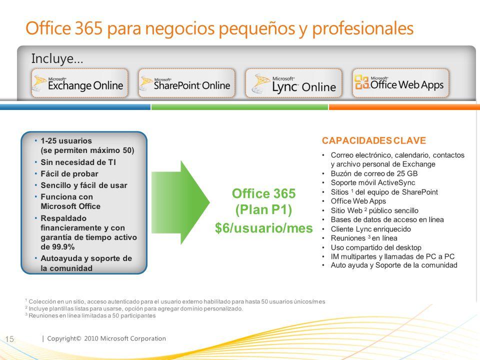 | Copyright© 2010 Microsoft Corporation Office 365 para negocios pequeños y profesionales Incluye… 15 Correo electrónico, calendario, contactos y arch
