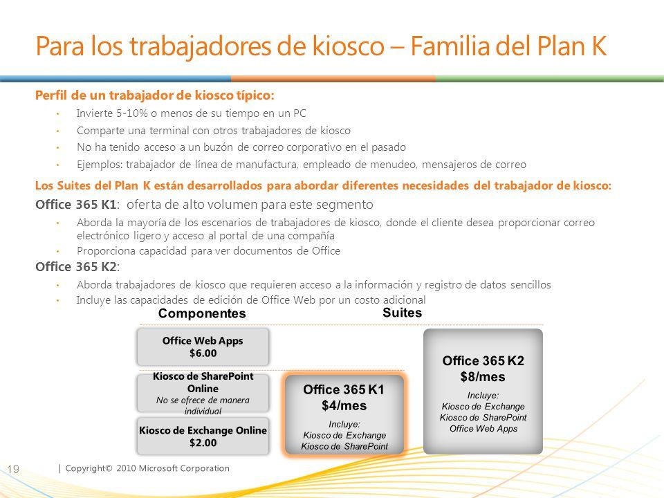 | Copyright© 2010 Microsoft Corporation Para los trabajadores de kiosco – Familia del Plan K Perfil de un trabajador de kiosco típico: Invierte 5-10% o menos de su tiempo en un PC Comparte una terminal con otros trabajadores de kiosco No ha tenido acceso a un buzón de correo corporativo en el pasado Ejemplos: trabajador de línea de manufactura, empleado de menudeo, mensajeros de correo Los Suites del Plan K están desarrollados para abordar diferentes necesidades del trabajador de kiosco: Office 365 K1: oferta de alto volumen para este segmento Aborda la mayoría de los escenarios de trabajadores de kiosco, donde el cliente desea proporcionar correo electrónico ligero y acceso al portal de una compañía Proporciona capacidad para ver documentos de Office Office 365 K2: Aborda trabajadores de kiosco que requieren acceso a la información y registro de datos sencillos Incluye las capacidades de edición de Office Web por un costo adicional 19