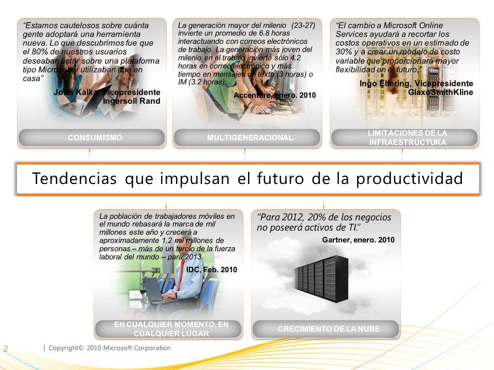 | Copyright© 2010 Microsoft Corporation Los clientes están adoptando la productividad de la nube