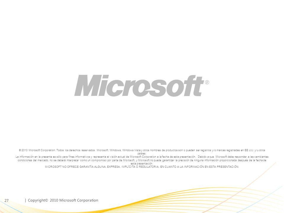 | Copyright© 2010 Microsoft Corporation © 2010 Microsoft Corporation. Todos los derechos reservados. Microsoft, Windows, Windows Vista y otros nombres