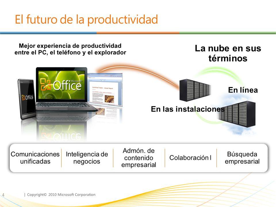| Copyright© 2010 Microsoft Corporation El futuro de la productividad 4
