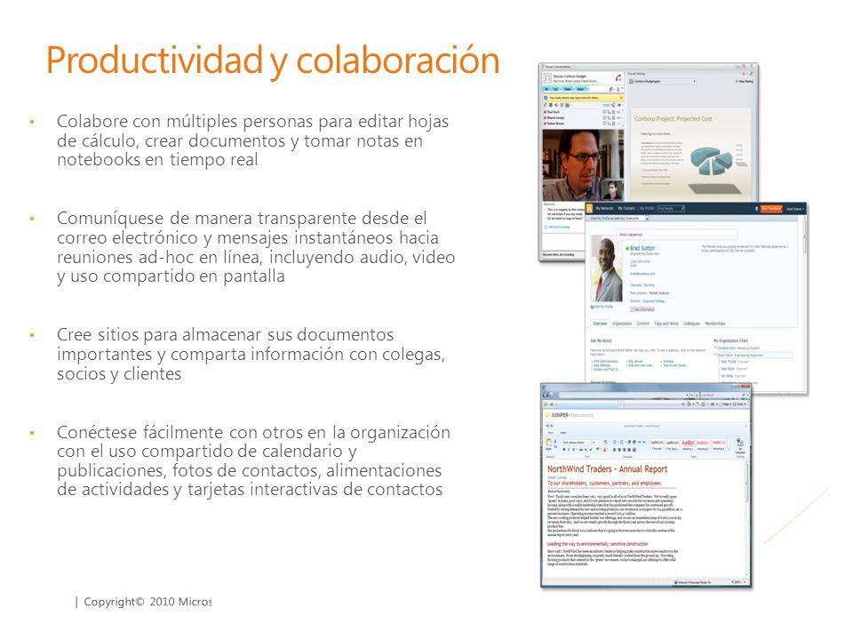 | Copyright© 2010 Microsoft Corporation Productividad y colaboración Colabore con múltiples personas para editar hojas de cálculo, crear documentos y