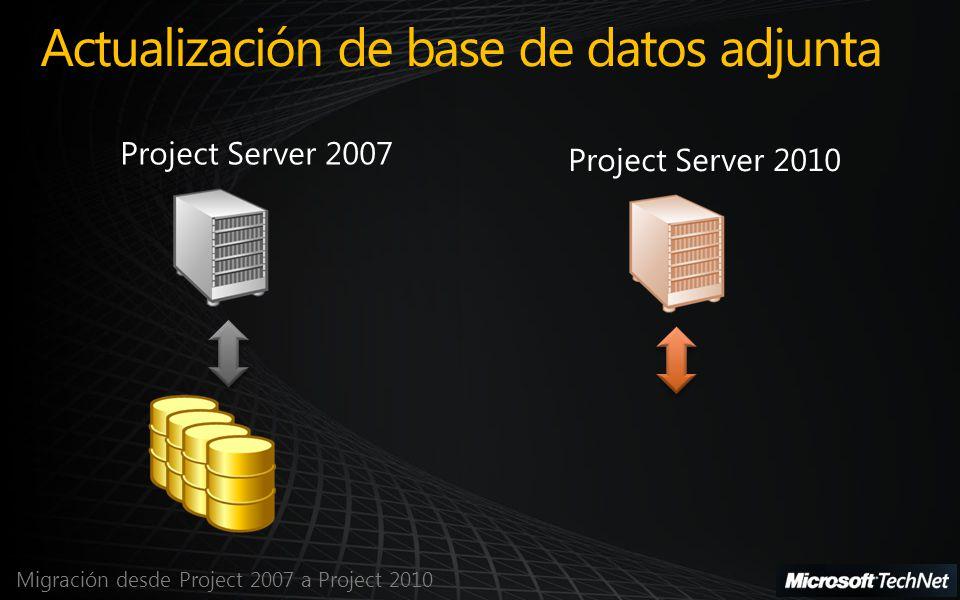 Migración desde Project 2007 a Project 2010 Actualización de base de datos adjunta